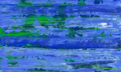 blue sky with green earth both flattened vertically on the painting surface