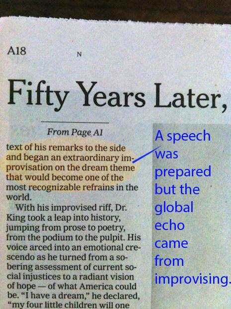 MLK Dream Speech was Improvsied